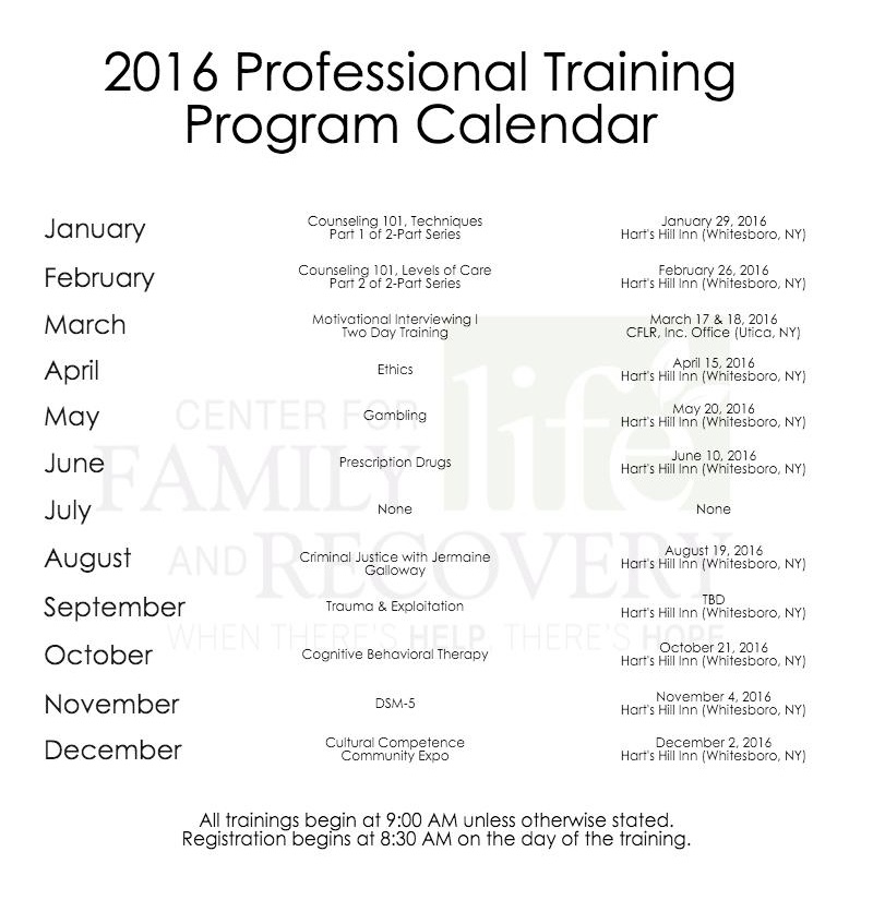 2016 Trainings