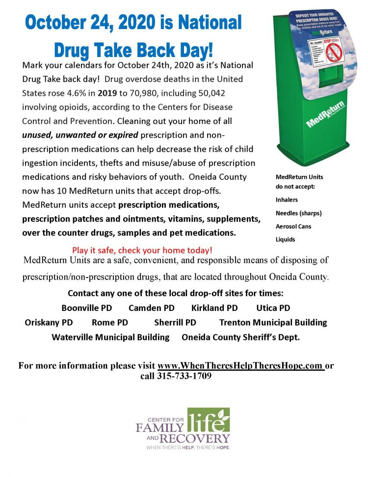 October 24, 2020 is National Drug Take Back Day!