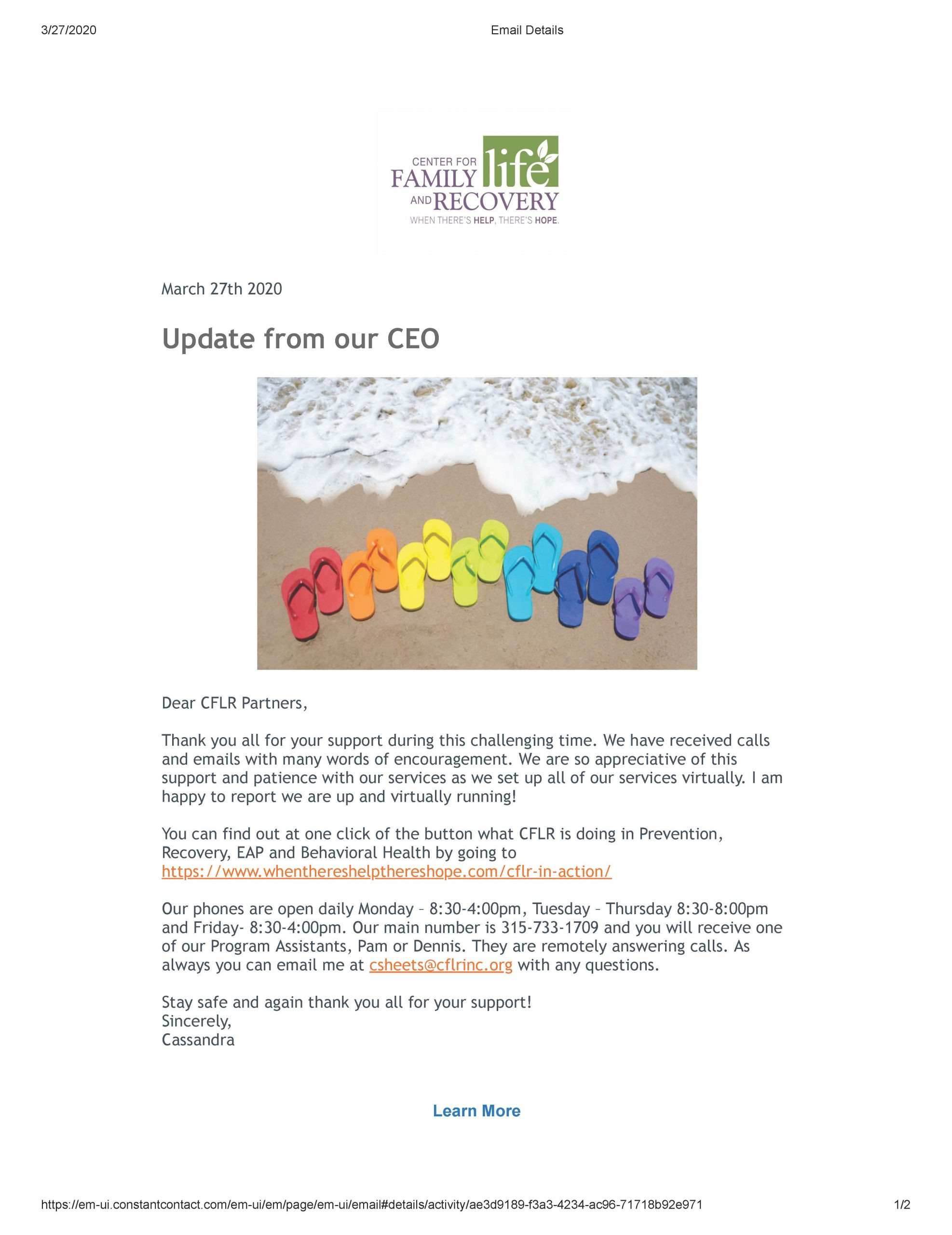 An Update from Our CEO on the COVID-19