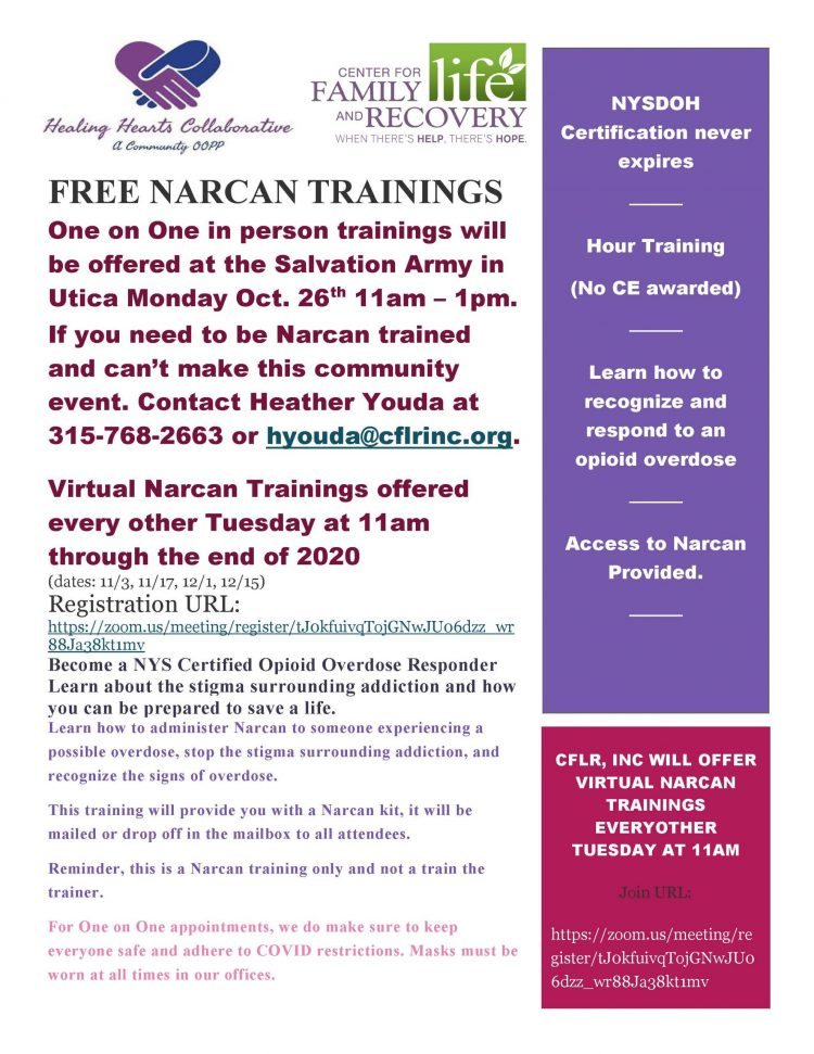 Free One on One Narcan Trainings